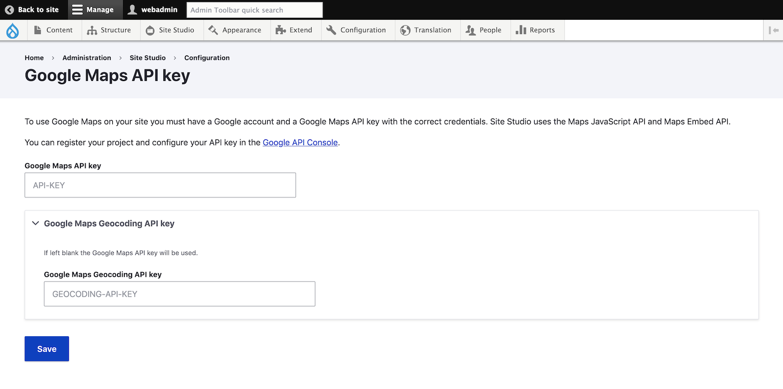 Google maps api configuration page